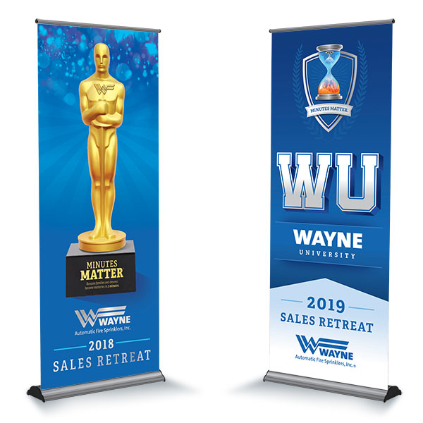 Two stand banners for the Wayne Sales Retreat 2019