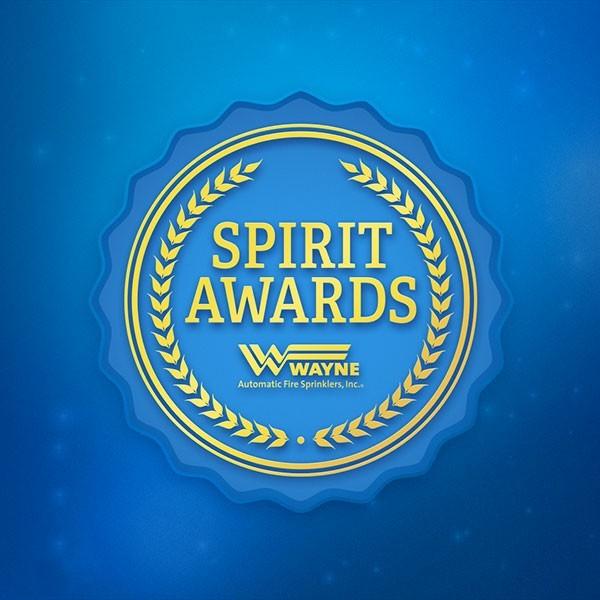A blue Wayne Spirit Awards ribbon