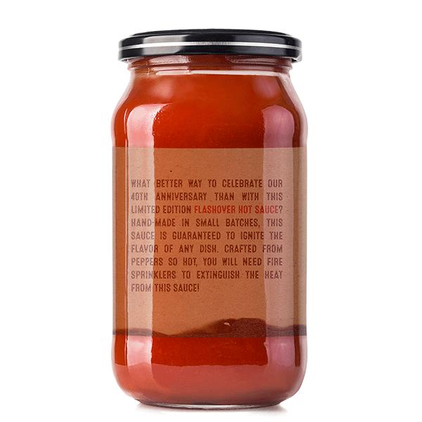 Back of the Wayne hot sauce jar