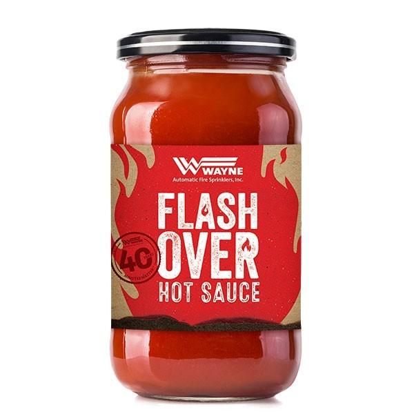 Wayne Flash Over hot sauce jar
