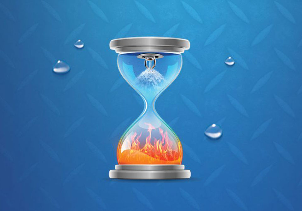Hourglass with a sprinkler in the top and fire in the bottom in front of a blue background with water droplets.