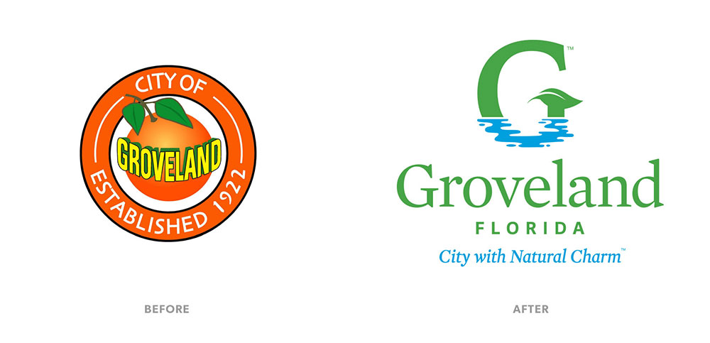 City of Groveland before and after logos. City of Groveland Established 1922 and Groveland Florida City with Natural Charm.