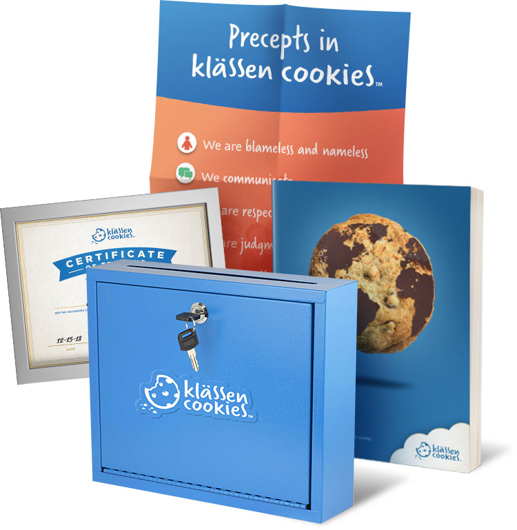 The Klassen Cookies coaching bundle including an illustrated classroom poster, the Klassen cookies program, a Klassen Cookies student submission box, and a certificate of training by Brittney Mason.