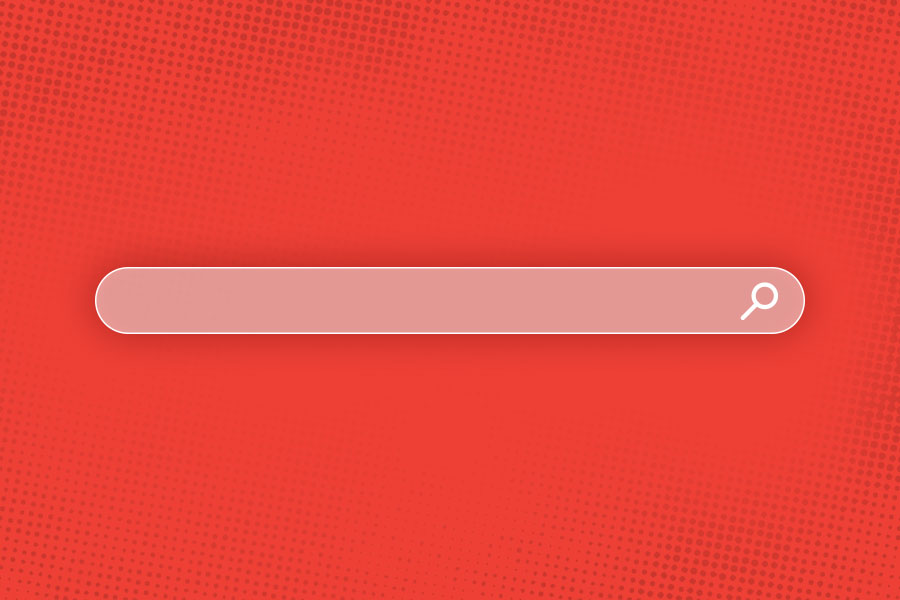 A search bar in front of a red background