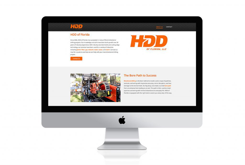Horizontal Directional Drilling website mocked up on a Mac.