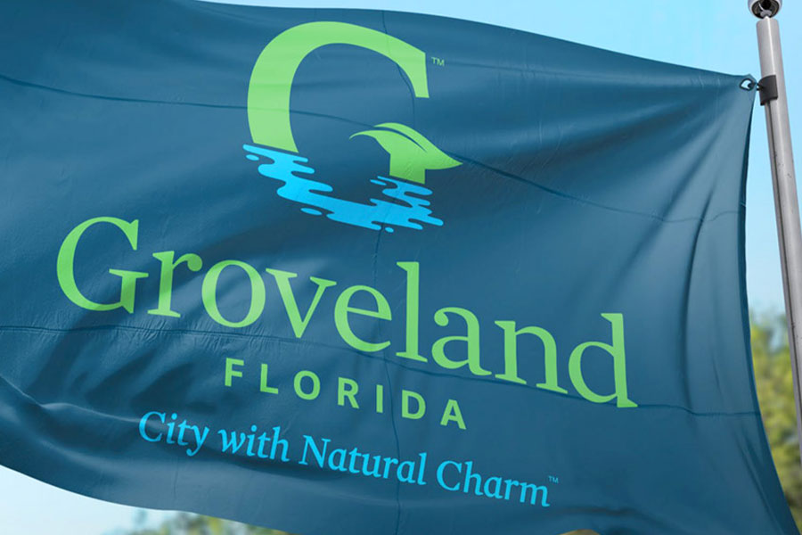 Groveland Florida logo on a flag