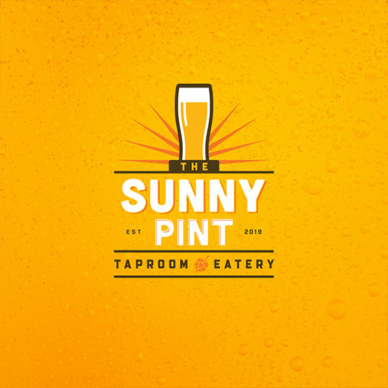 The Sunny Pint Taproom and Eatery logo with a beer glass icon above.