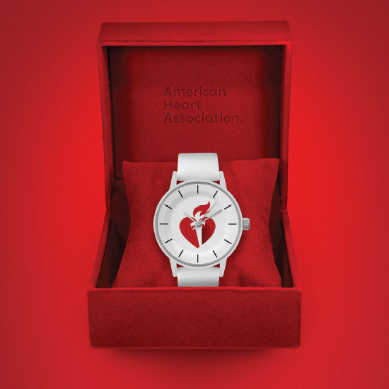 American Heart Association. Watch with the AHA logo in a ring box.